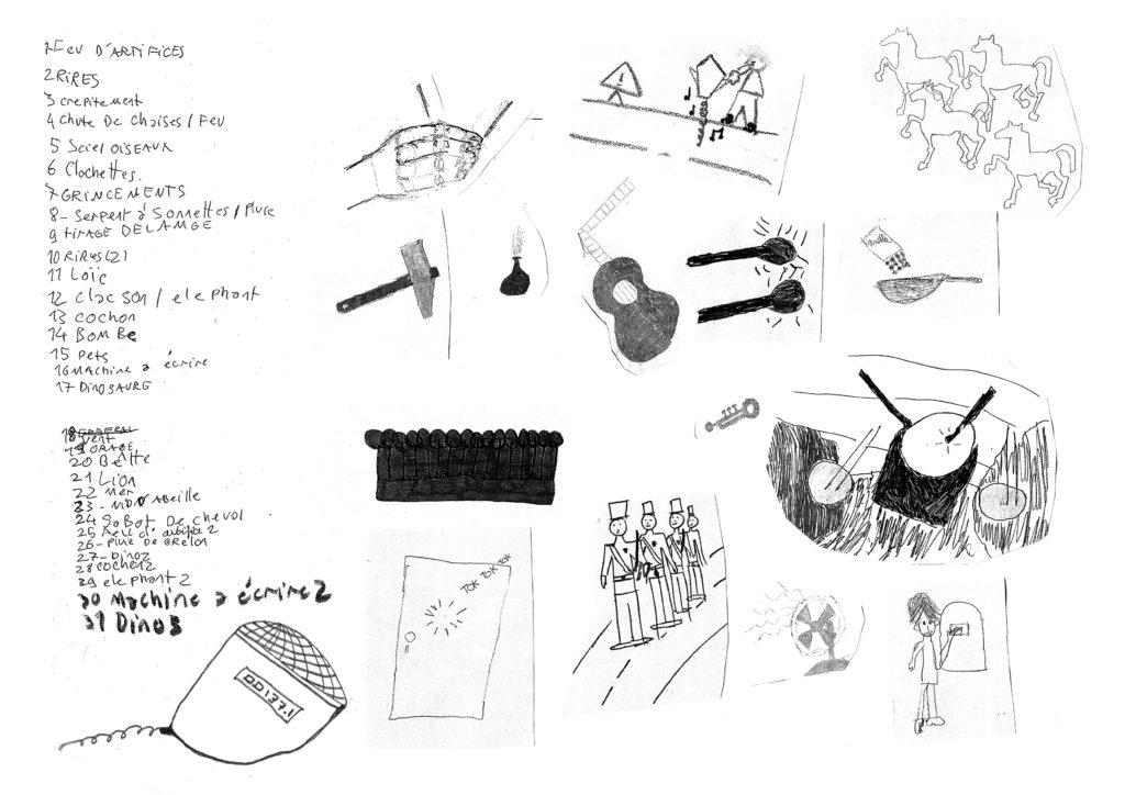 Travailler collectivement. ensemble de graphismes créer par un groupe d'habitant du quartier.